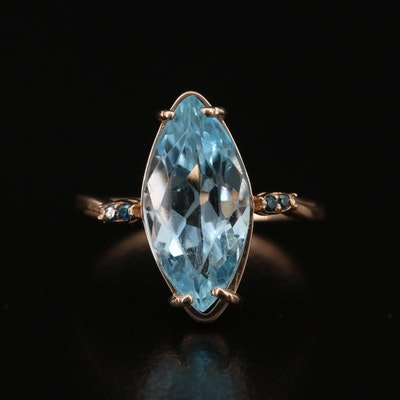 14K Topaz and Diamond Navette Ring