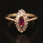 14K Ruby and Diamond Navette Ring