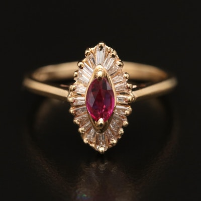 14K Ruby and Diamond Navette Ring