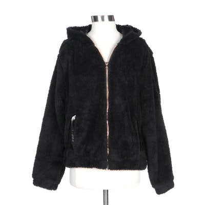 Pink Platinum Black Hooded Faux Fur Cropped Zipper Jacket
