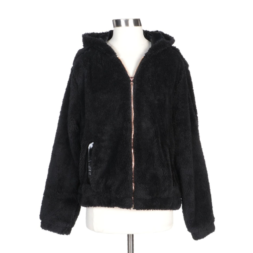 Pink Platinum Black Hooded Faux Fur Cropped Zipper Jacket