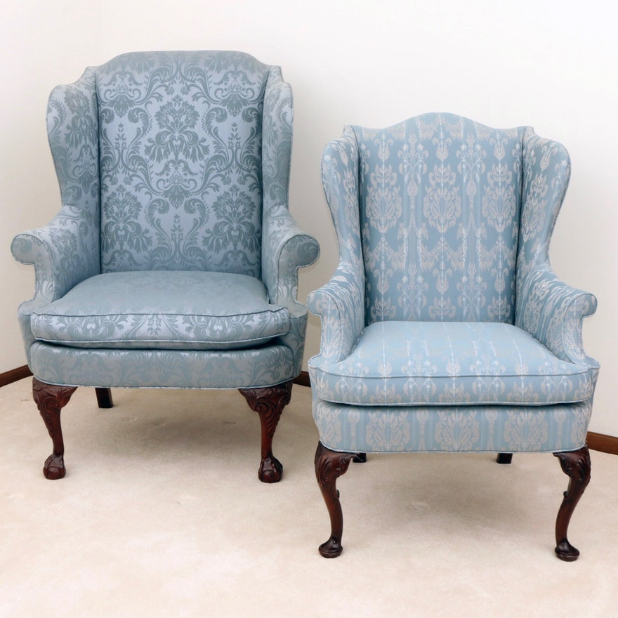 Pair of Hickory Chair Company Queen Anne Style Wingback Chairs