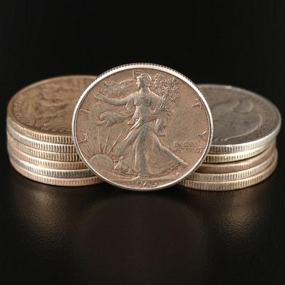 Twelve Walking Liberty Silver Half Dollars, 1934 to 1945