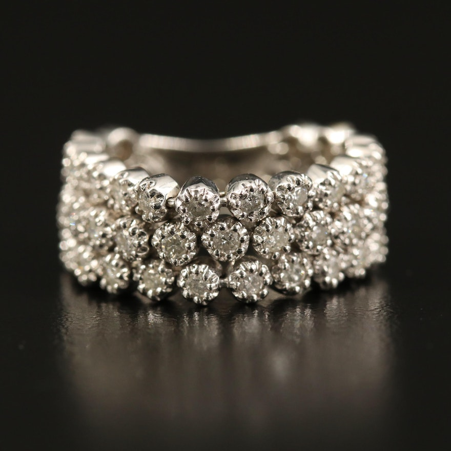 14K Diamond Articulated Triple Row Ring