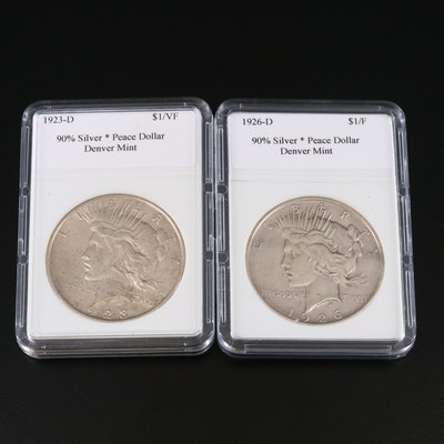 1923-D and 1926-D Peace Silver Dollars
