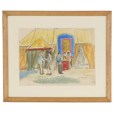 Watercolor Painting of Figures Outside Tent, Late 20th Century