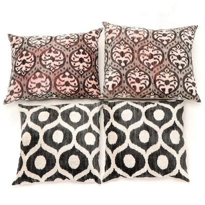 Chenille Accent Pillows with Printed Ikat Motifs