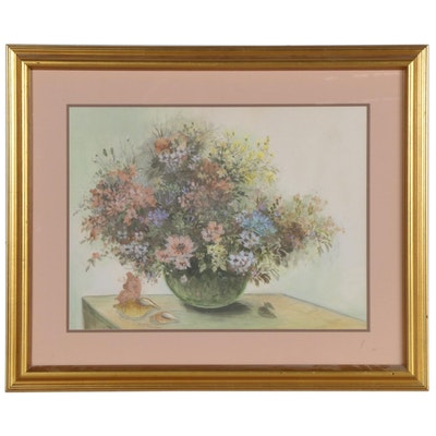 Floral Offset Lithograph after Mary Bertrand, 20th Century