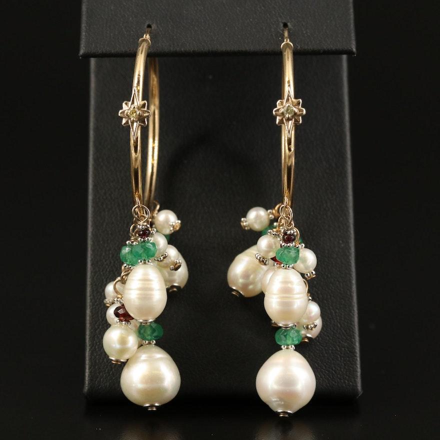 14K Pearl, Rhodolite Garnet and Emerald Hoop Earrings