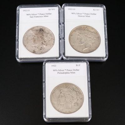 1922 Peace Dollar P-D-S Set