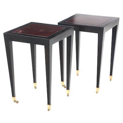 Pair of Donghia Ebonized Wood Side Tables with Burgundy-Stained Tops