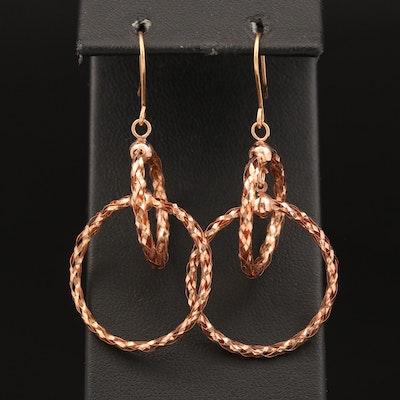 Milor 14K Rose Gold Braided Double Hoop Dangle Earrings
