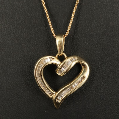 14K Channel Set 1.04 CTW Diamond Heart Pendant Necklace