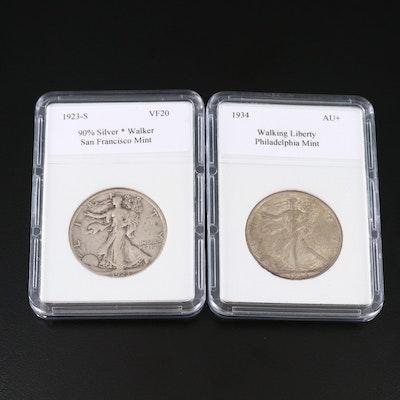 1923-S and 1934 Walking Liberty Silver Half Dollars