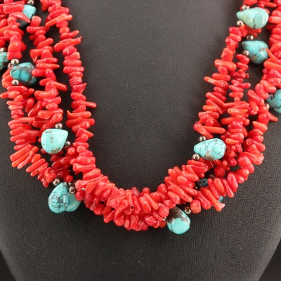 Sterling Silver Coral and Turquoise Multi-Strand Necklace