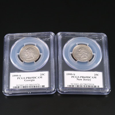 Two PCGS Graded PR69DCAM 1999-S Statehood Proof Quarters