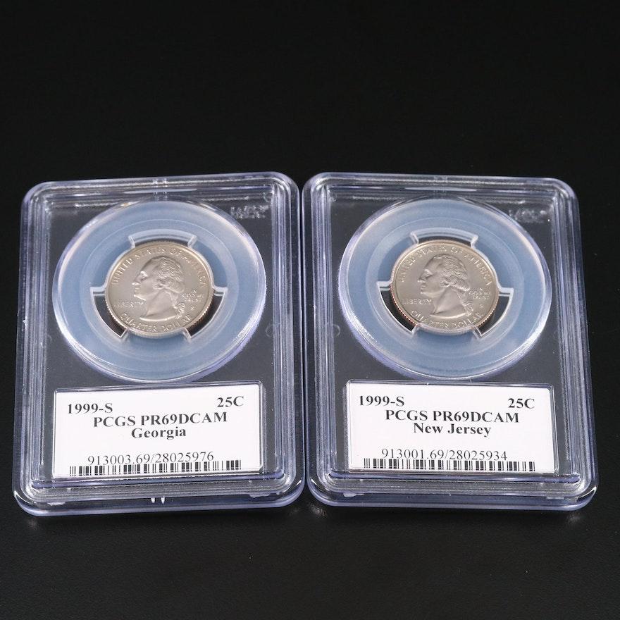 Two PCGS Graded PR69DCAM 1999-S Statehood Proof Quarters