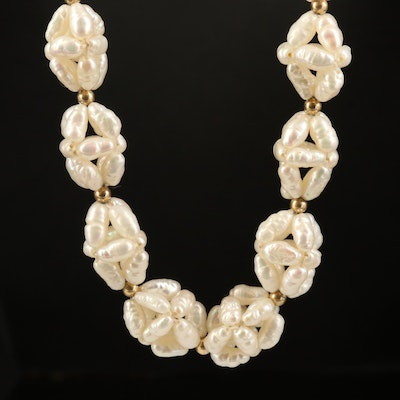 14K Woven Pearl Endless Necklace