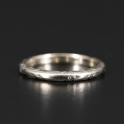 Art Deco 14K White Gold Band
