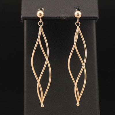 14K Spiral Drop Earrings