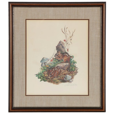 "William Gaither Offset Lithograph ""Eastern Chipmunk"""