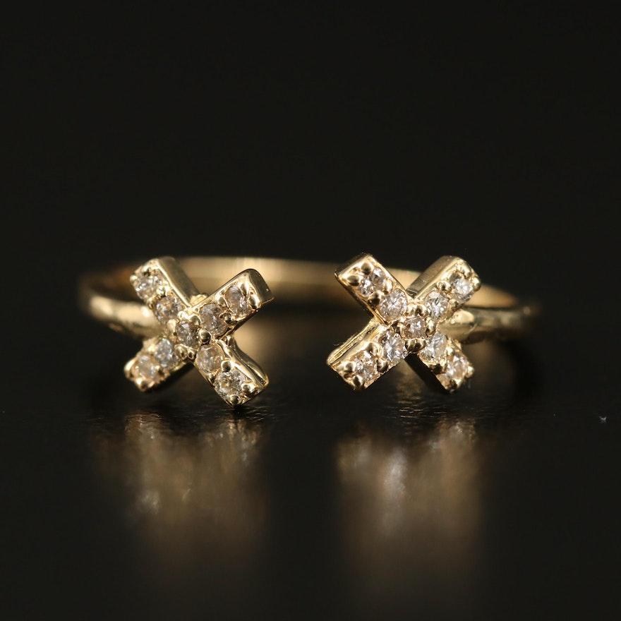 14K Diamond 'X' Open Shank Ring