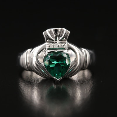 10K Glass and Diamond Claddagh Ring