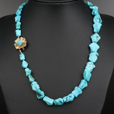 Turquoise Beaded Necklace with 14K Flower Clasp