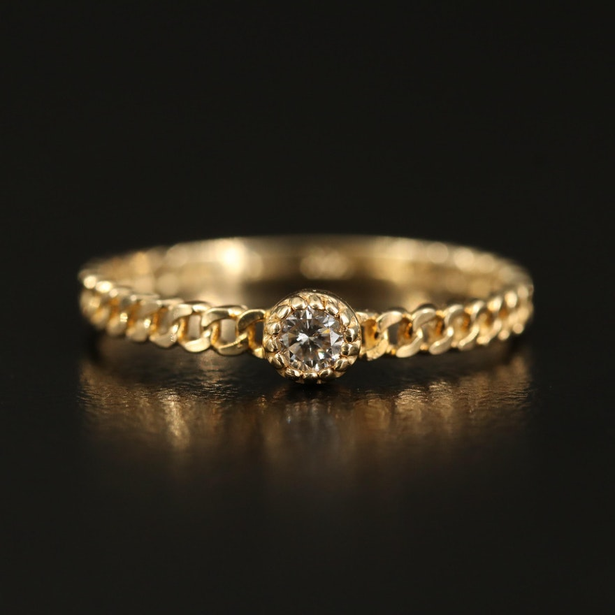 14K Diamond Ring with Curb Chain Motif Shank