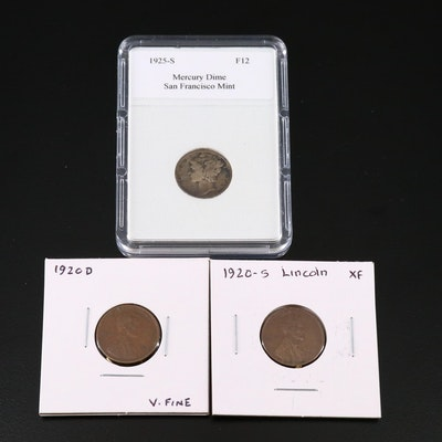 Two Wheat Cents and a Mercury Silver Dime