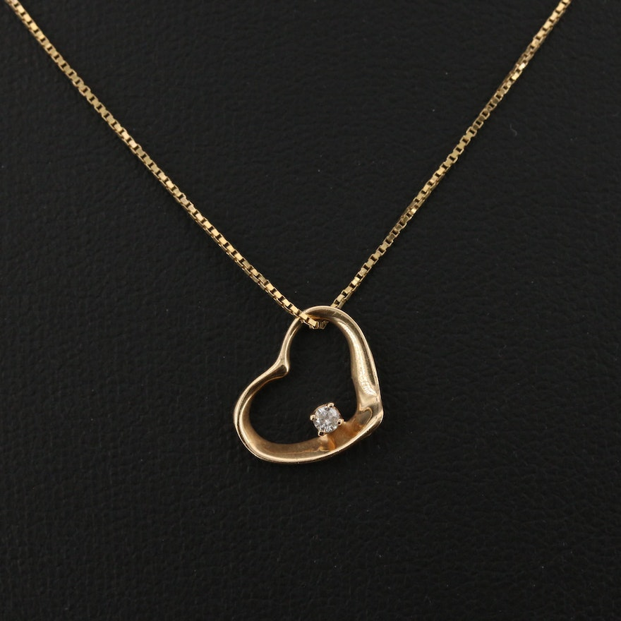 14K Diamond Floating Heart Necklace