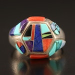 Southwestern Masha Sterling, Turquoise, Lapis Lazuli and Coral Inlay Ring