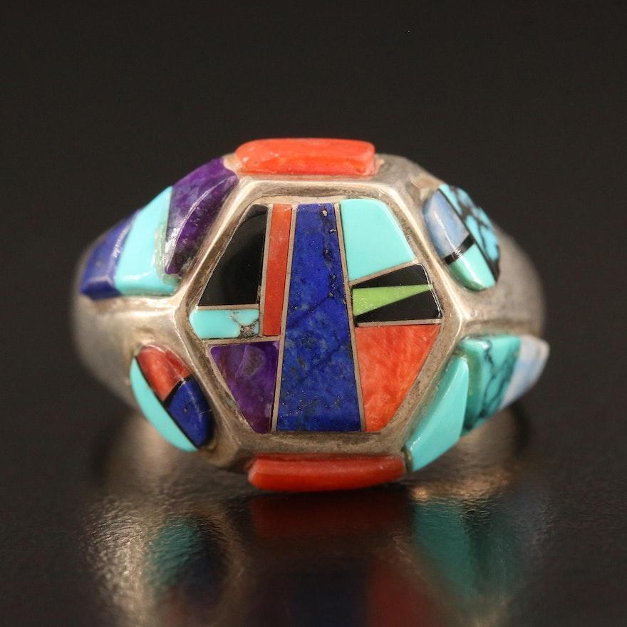 Southwestern Masha Sterling, Turquoise, Lapis Lazuli and Coral Inlay Ring