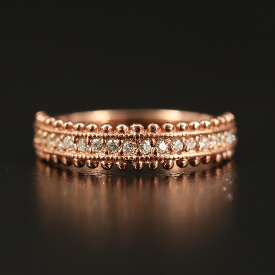 14K Rose Gold Diamond Band with Beaded Edge