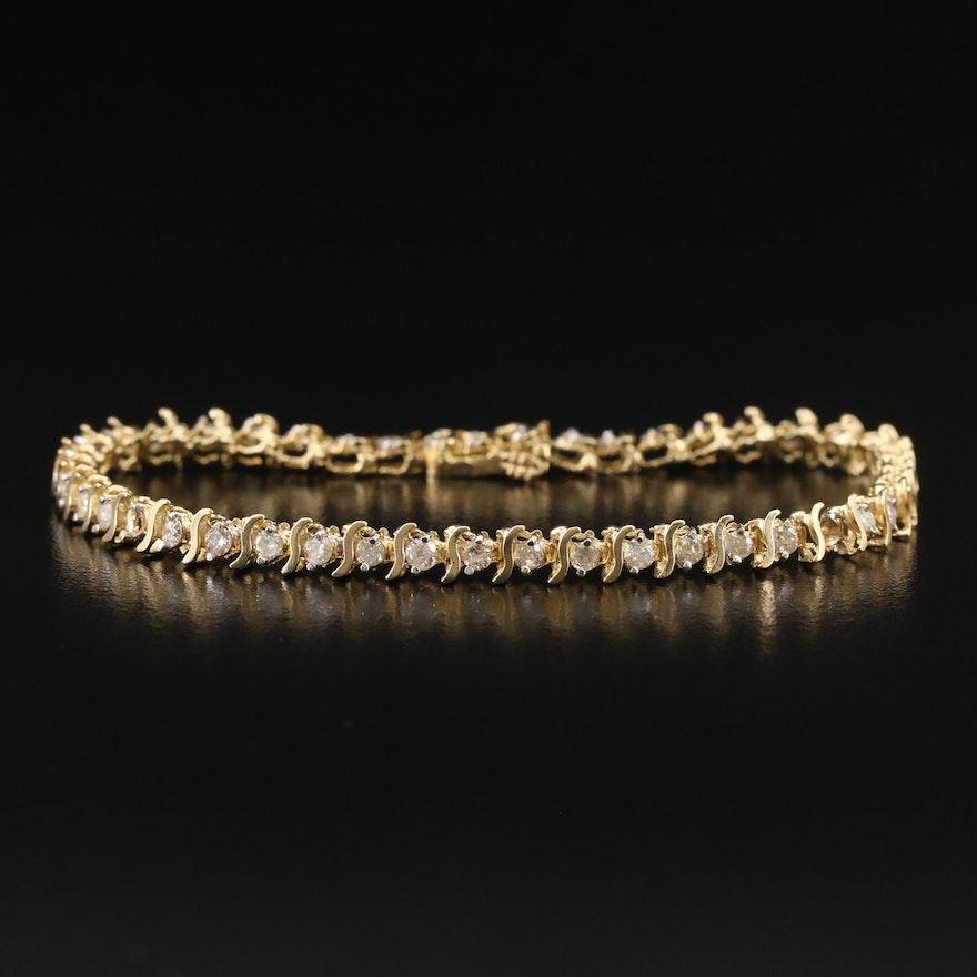 10K 1.65 CTW Diamond Line Bracelet