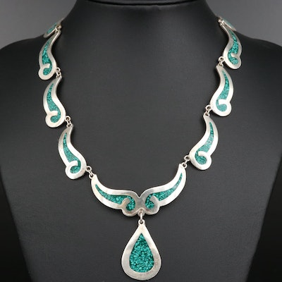 Mexican Sterling Silver Gemstone Inlay Necklace