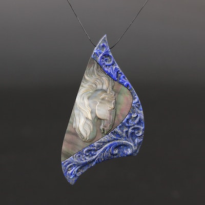 Loose Lapis Lazuli with Mother of Pearl Inlay Featuring Horse Head Design