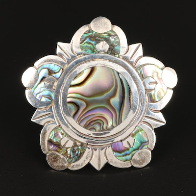 Taxco Sterling Abalone Brooch