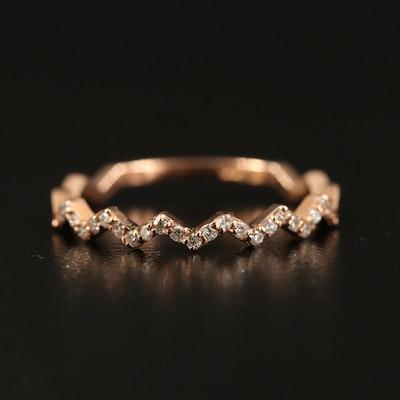 14K Rose Gold Diamond Zig Zag Band