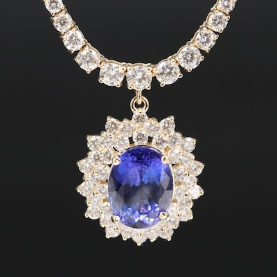 14K Tanzanite and Graduated 7.02 CTW Diamond Necklace