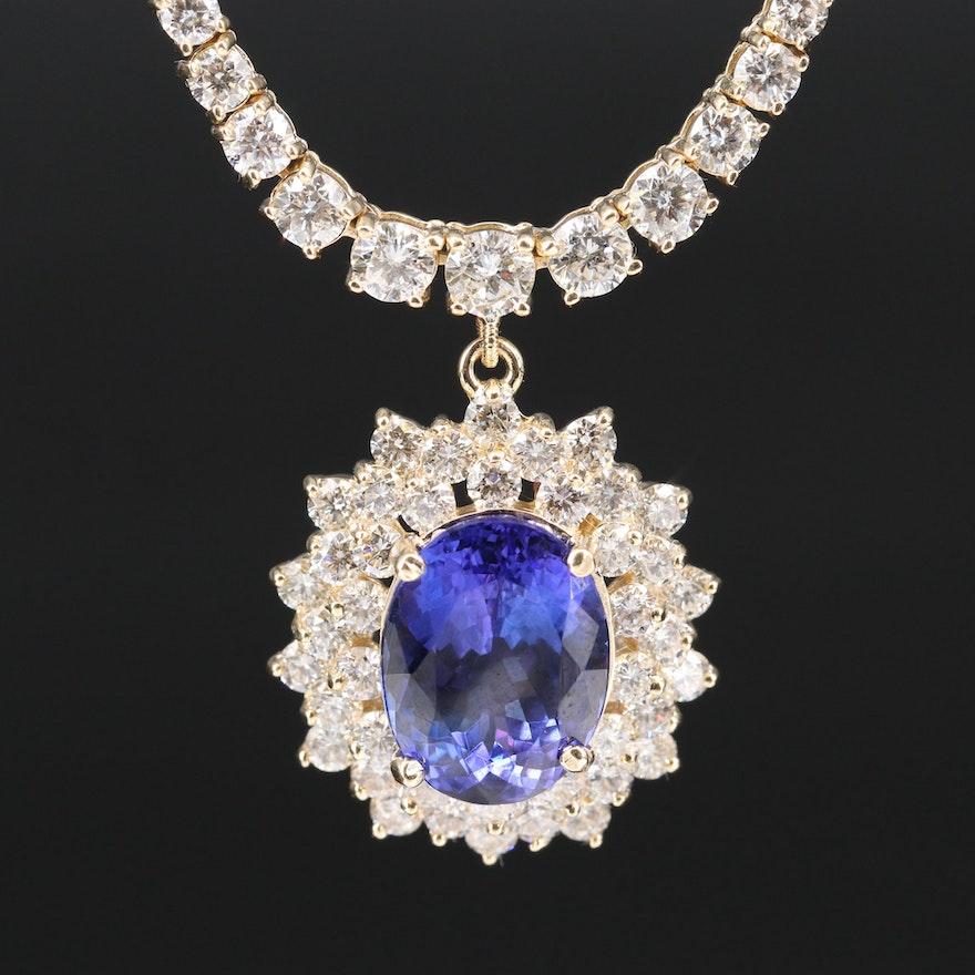 14K Tanzanite and Graduated 7.02 CTW Diamond Necklace