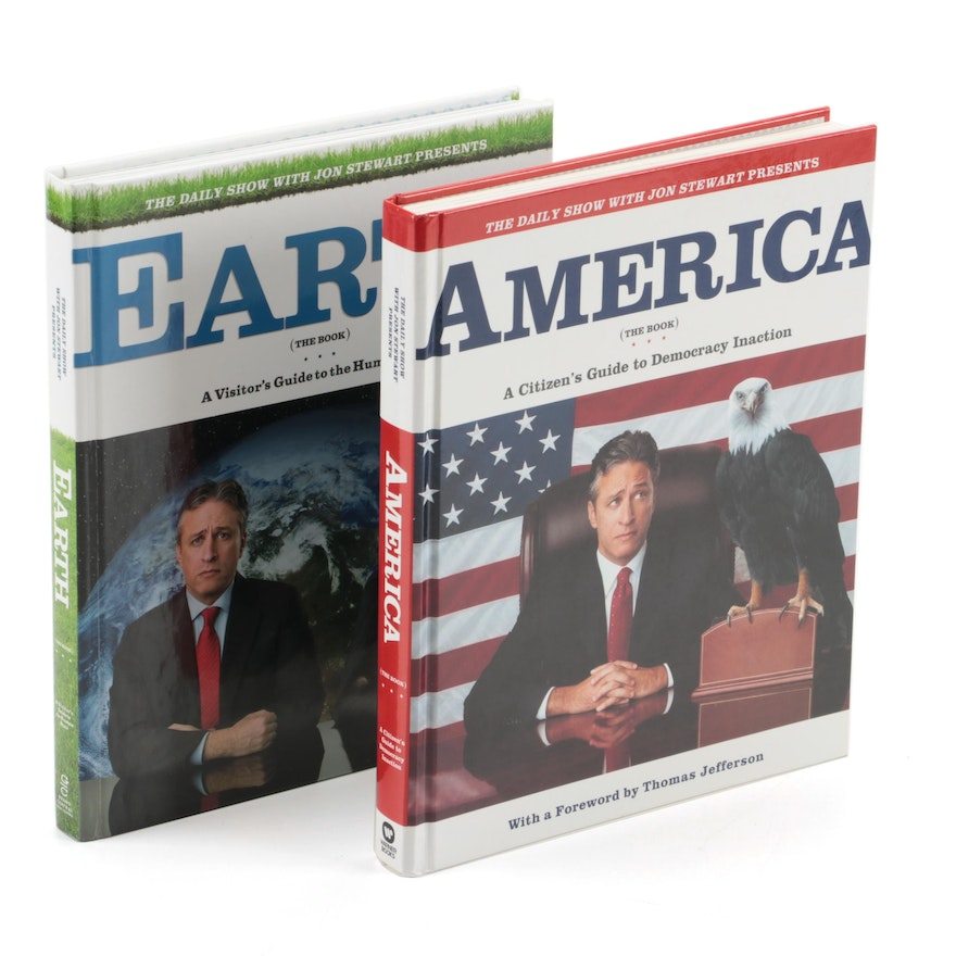 """First Edition """"America (The Book)"""" and """"Earth (The Book)"""" by Jon Stewart"""