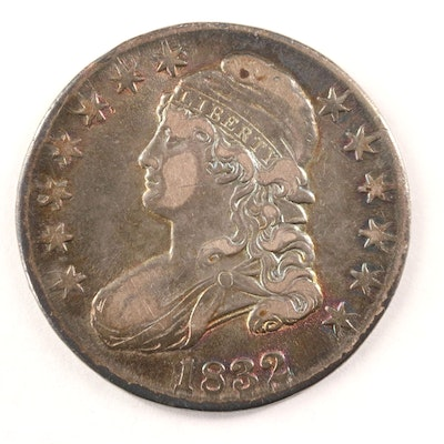 Toned 1832 Capped Bust Silver Half Dollar