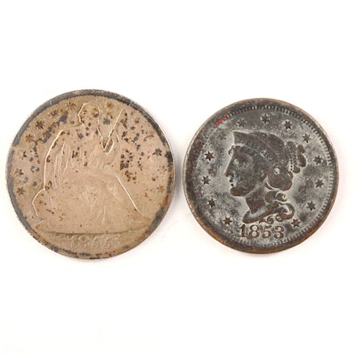 1855-O Seated Liberty Half Dollar and 1853 Braided Hair Large Cent