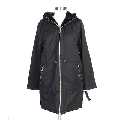 Rachel by Rachel Roy Black Reversible Hooded Zipper-Front Coat