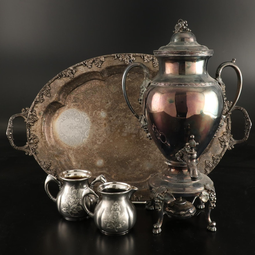 Silver Plated Hot Water Urn and Other Silver Plate Serving Pieces
