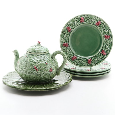 "Bordallo Pinheiro ""Holly"" Ceramic Salad Plates, Teapot, and Serving Platter"