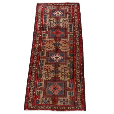 3'2 x 8'4 Hand-Knotted Caucasian Kazak Wool Carpet Runner