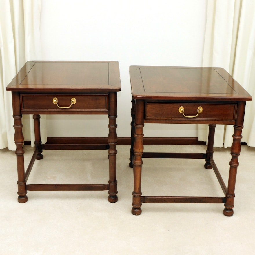 """Pair of Hickory Chair Co. """"American Digest"""" Cherrywood Side Tables"""