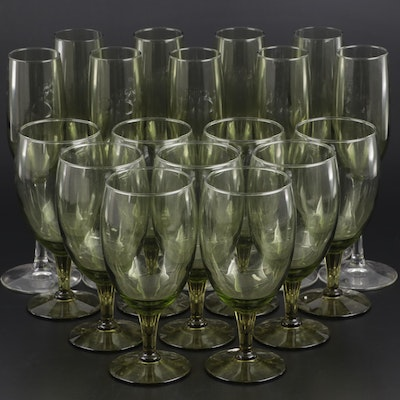 Smokey Green Glass Iced Tea Glasses and Champagne Flutes, Late 20th Century